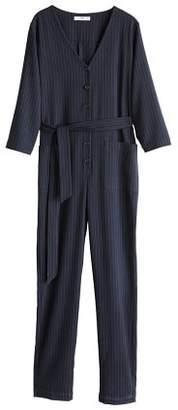 MANGO Striped long jumpsuit