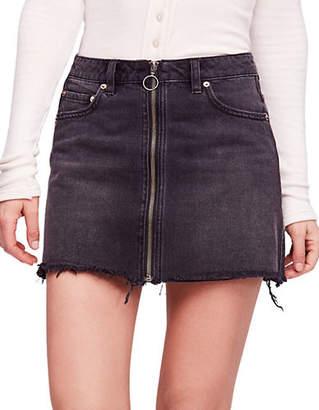 Free People Zip It Up Denim Mini Skirt