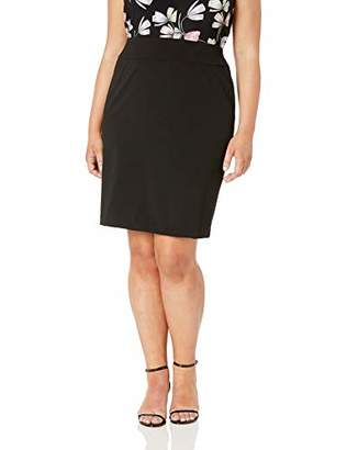 Nine West Women's Plus Size Drapey Crepe Pull ON Slim Skirt