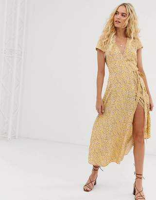 And other stories &  wrap dress in yellow floral print