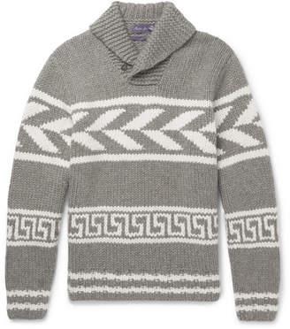 Ralph Lauren Purple Label Shawl-Collar Intarsia Cashmere Sweater