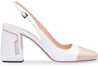 Prada white and beige sling back pumps