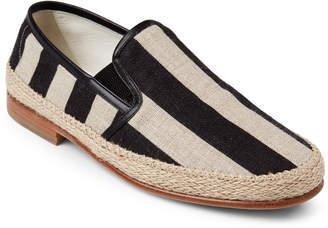 Dolce & Gabbana Beige & Black Striped Linen Slip-On Espadrilles