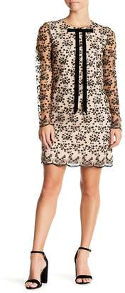 Betsey Johnson Tie Detail Floral Embroidery Dress