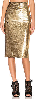 House of Harlow 1960 x REVOLVE Kiki Skirt in Metallic Gold $198 thestylecure.com