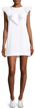 Atlantique Ascoli High-Neck Sleeveless Poplin Shift Dress w/ Ruffled Frill
