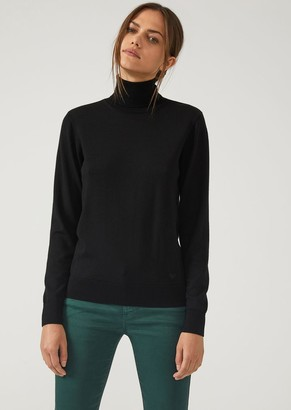 Emporio Armani Plain Knit Pure Virgin Wool Turtleneck