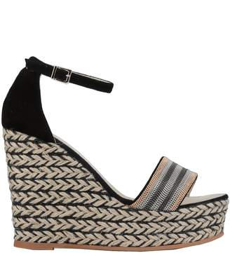 7d4b56c144d Black Leather Espadrille Wedges - ShopStyle