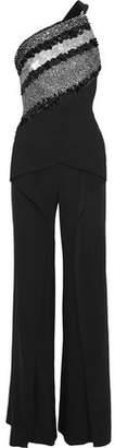Roland Mouret One-Shoulder Embellished Mesh-Paneled Crepe Jumpsuit