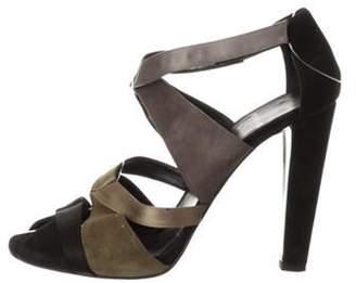 Pierre Hardy Suede Peep-Toe Sandals Olive Suede Peep-Toe Sandals