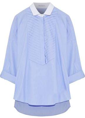 Brunello Cucinelli Bead-Embellished Pintucked Cotton-Poplin Shirt