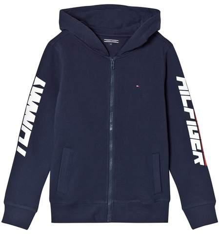 Tommy Navy Sleeve Branding Full Zip Hoodie