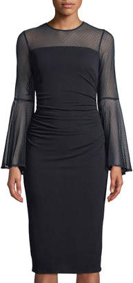 London Times Flounce-Sleeve Ruched Sheath Dress W/ Mesh Yoke