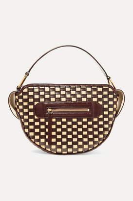 Wandler Yara Woven Glossed Leather And Raffia Shoulder Bag - Chocolate