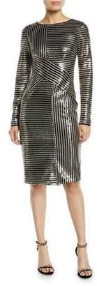 Theia Long-Sleeve Asymmetric Sequin Striped Dress