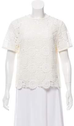 Chloé Guipure Lace Short Sleeve Top