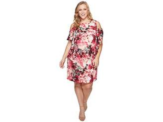 Tahari ASL Plus Size Cascade Ruffle Printed Shift Dress Women's Dress