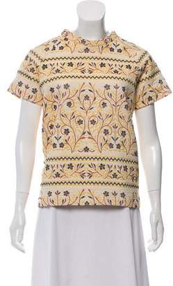Roseanna Embroidered Short Sleeve Top
