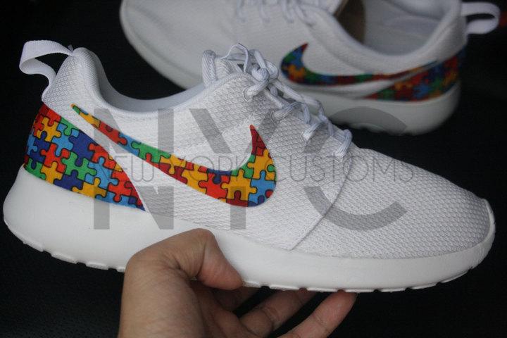 Etsy Autism Awareness Nike Roshe One Run Triple White Autism Speaks Custom Toddlers Pre School Grade Scho