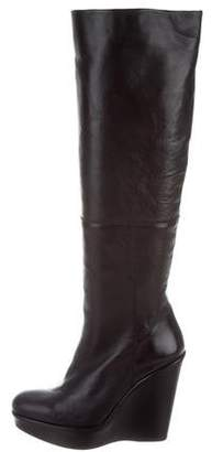 Stuart Weitzman Leather Knee-High Wedge Boots