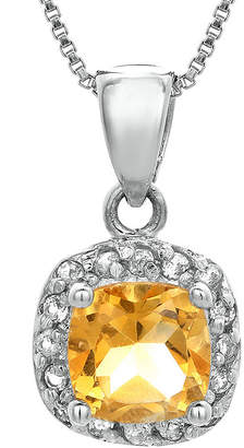 FINE JEWELRY Cushion-Cut Genuine Citrine and White Topaz Sterling Silver Pendant Necklace