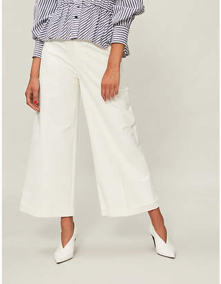 REJINA PYO Tate wide cropped cotton-blend trousers