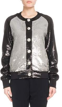 Balmain Button-Front Bicolor Paillette Sequin Baseball Jacket