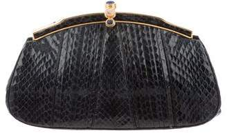 Judith Leiber Pleated Python Clutch