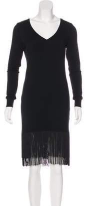 Haute Hippie Fringe-Accented Knee-Length Dress