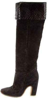 Roger Vivier Python-Trimmed Knee-High Boots