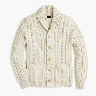 J.Crew Shawl-collar cotton cable-knit cardigan