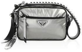 Prada Studded Nylon Shoulder Bag