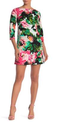 Chetta B 3\u002F4 Sleeve Shift Print Dress