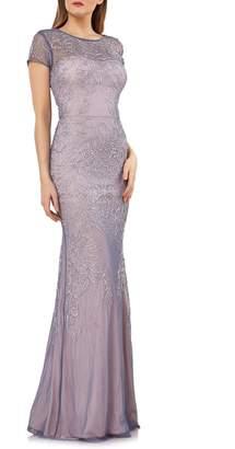 JS Collections Soutache Mesh Evening Dress