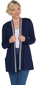 Dennis Basso Interlock Knit Cardigan w/ StripedTrim Detail