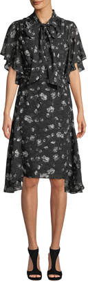 Max Studio Floral Tie-Neck Ruffle A-Line Dress