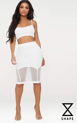 PrettyLittleThing Shape White Ribbed Bandage Mesh Insert Midi Skirt