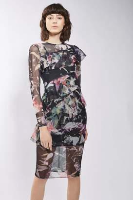 Topshop Floral Print Mesh Ruffle Midi Dress