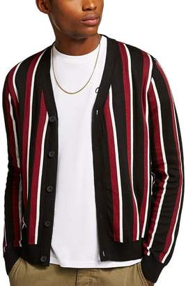 Topman Slim Fit Stripe Cardigan