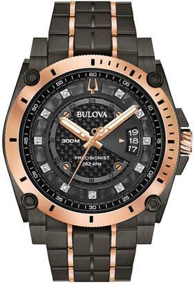 Bulova Men Precisionist Champlain Diamond-Accent Gray & Rose Gold-Tone Stainless Steel Bracelet Watch 46.5mm