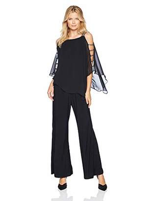 MSK Women's Silver Bar Sleeve Wide Leg Jumpsuit with Chiffon Overlay