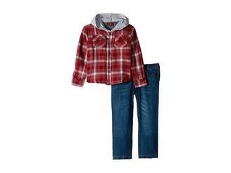 7 For All Mankind Kids Two-Piece Set Twill Plaid Hooded Sport Shirt with Medium Wash Denim Jeans (Toddler)