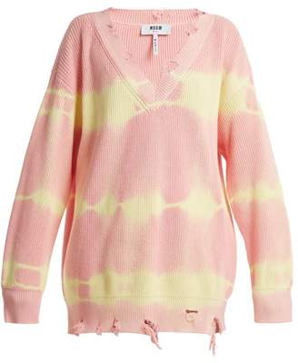 Msgm - Oversized Distressed Tie Dye Cotton Sweater - Womens - Pink Multi