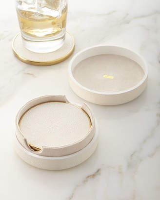 AERIN Faux Shagreen Coasters - Cream, Set of 4