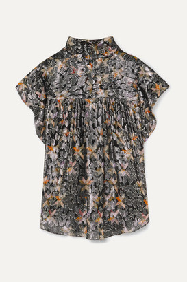 Isabel Marant Imany Draped Silk And Lurex-blend Jacquard Top - Black