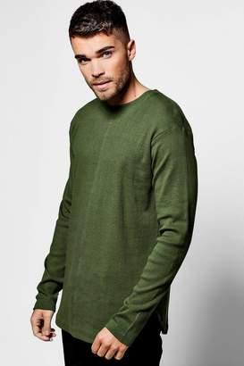 boohoo Skater Ribbed Curved Hem T-Shirt