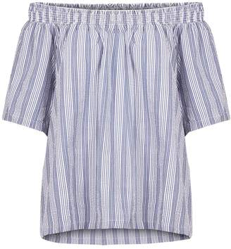 Nümph Short-Sleeved Striped Cold Shoulder Blouse