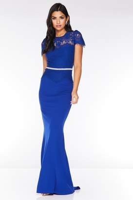 Quiz Royal Blue Lace Embellished Waistband Maxi Dress