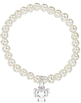 Jo for Girls Freshwater Pearl Bracelet with Sterling Silver October Birthstone Angel Charm CBOCTwp/L
