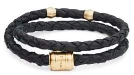 Miansai Goldtone Leather Braided Wrap Bracelet